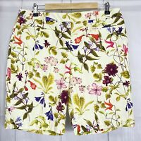 Lands End Womens 12 Shorts Bermuda Yellow Colorful Floral Pockets Mid Rise #F