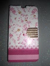 Etui portefeuille housse pour Samsung Galaxy S5 petites fleurs roses  NEUF !