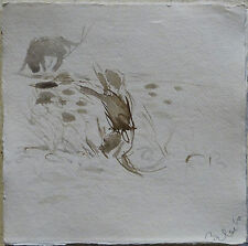 TWO CATS PLAYING original painting drawing animal kitten garden landscape art