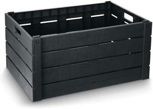 Strata 60 Litre Wood Effect Folding Collapsible Crate Storage Box in Charcoal