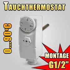 """Tauchthermostat Pumpen steuerung Boiler Drehknopf Tauchhülse 100mm 1/2"""" 0-90°C"""