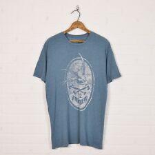 Ezekiel Skate Surf Heather Blue Vintage Swallow Bird Sailor Print S/S T-Shirt L