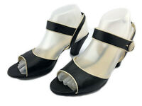 ENZO ANGIOLINI Women's Shoes Open Toe Sandals Ankle Strap Black & Cream $45