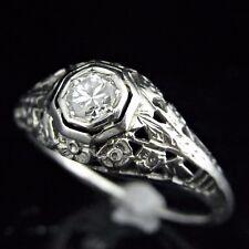Art Deco Diamond Engagement Ring 14k White Gold Filigree Promise Vintage Estate
