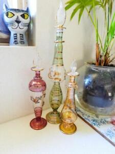 3 Vintage Genie Style Egyptian Glass Perfume Bottles