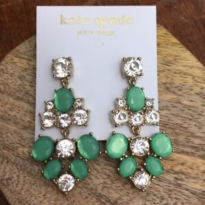 kate spade crystal chandelier earrings green clear gold