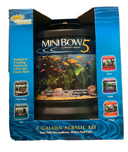Mini Bow 5 Gallon Acrylic Aquarium Kit With Whisper Power Filter Light Included