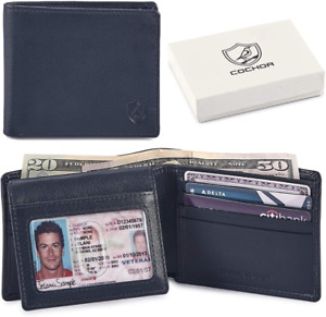 COCHOA Men's Real Leather Travel RFID Blocking Bifold Stylish Wallet With 2 ID W
