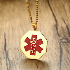 Gold Medical Alert ID Dog Tag Necklace Pendant Octagon Chain Link Free Engraving