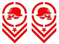 "METAL MULISHA CHEVRON MOTOCROSS* Car Decal/Sticker, 2 PCS , 7.8"" x 4.7"" RED"