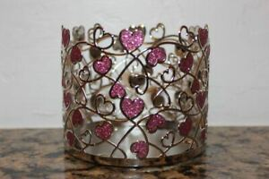 Bath & Body Works Pink & Silver Hearts Metal Candle Holder~Valentine's Day 2021~