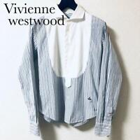 VIVIENNE WESTWOOD USED MENS ONE POINT BLUE STRIPE SHIRT LONG SLEEVED SIZE XS F/S