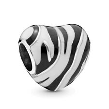 Zebra Wild Stripes Heart European Charm With Pink Gift Pouch - Silver Tone
