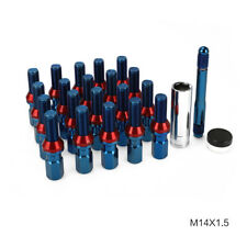 20 PCS M14X1.5 Extended Steel Wheel Lug Bolts Shank Cone Seat with Key Blue