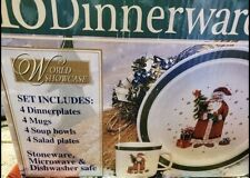 NEW 16pc World Showcase Santa Stoneware Christmas Dinnerware Set Service for 4