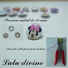 Lot de 5 jeux / 5 pressions en métal (20 pièces) de 10 mm : blanc La tête Minnie