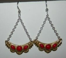 Carolyn Pollack American West Mixed Metal Red Coral Dangle Earrings