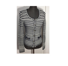 NWOT Trina Turk Navy and Off White Striped Sweater Cardigan SIZE L    E1107