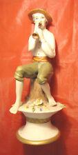 Statuina grande Pastore in Ceramica suonatore piffero flauto presepe 25 cm alto