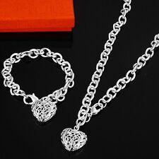 Belle Fashion 925 Sterling Argent Plaqué Cœur Bracelet Collier Set Bijoux