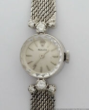 Genuine Rolex Ladies Diamond 14k White Gold Cocktail Wrist Watch