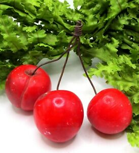 FABULOUS OLD CLUSTER OF LARGE RED ALABASTER CHERRIES ON WIRE  #4
