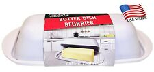 Butter Dish with Lid~ White New Design Sturdy Durable Melamine Resin USA Seller