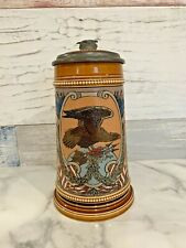Antique Mettlach 1/2 L AMERICAN FLAGS EAGLE Beer Stein 3135
