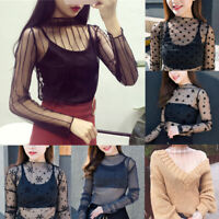 Sexy Women Transparent T-Shirts Mesh Sheer Party Long Sleeve Blouses Ladies Tops