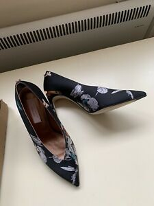 TED BAKER BLACK FLORAL SHOES SIZE 4 37 RRP £125 NEW!!!