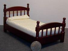 Dollhouse Miniature Single Bed Mahogany Cream Bedspread 1:12 one inch scale Y22
