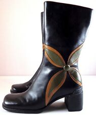 Clarks Indigo Boots Womens Black Leather Mid-Calf Size 5.5 M Flower Side Zip