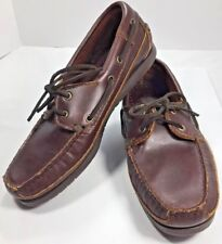 MINNETONKA Moccasin - Brown Lariat Boat Rubber Sole 878 / MEN'S SIZE 7.5