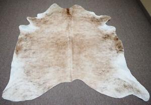 Light exotic brazilian  Cowhide rug 6.8x6 ft -3930