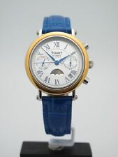 Stauer Ladies Automatic 21 Jewels Two-Tone Moon Phase Dial Watch L2869BLU