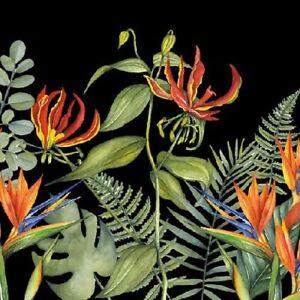 20 Paper Party Napkins Tropical Flowers Black 20 3 Ply Tissue Serviettes