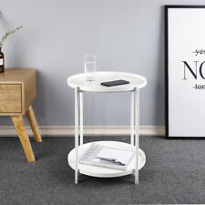 White Metal Frame Coffee Table Sofa Side Small End Tables Tray Detachable 2 Tier
