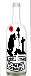 Vinyl Decal Sticker for Wine bottle lest we forget all gave some remembrance
