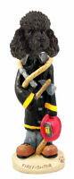 Black Poodle Firefighter Stone Resin Figurine Statue