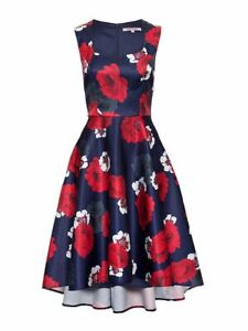 REVIEW Oriental Bloom Blue Floral Print Fit and Flare Prom Dress Size 12