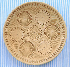 "Unglazed art pottery plate flower pattern 11"" rustic decorative display plate"