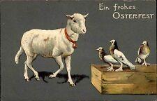 Frohe Ostern um 1910 Osterlamm Lamm Vögel Tauben Prägekarte Präge-AK Easter Pc.