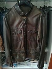 jacket bomber GIORGIO BRATO  leather  tg 54 /52 XL amk MILITARE Puff down sale