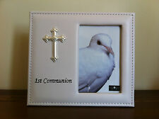 First/1st Communion White Vinyl Photo Frame/Gift Cross 4x6""