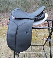 "Kings-Norton Black Dressage Saddle 17"" XW Rear Gussets Made in England X Wide"