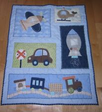 "Circo Cotton Blend Baby Crib Blanket 33"" x 42"" ~ Car Train & Airplane Helicopter"
