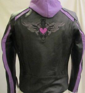 Womens Black & Purple Embroidered Leather Motorcycle Biker Jacket Zip Hoodie 2XL