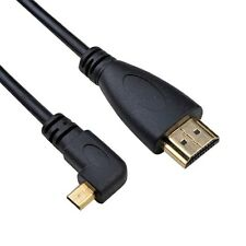 left Angled 90D Micro HDMI to HDMI Male HDTV Cable for Cell Phone & Tablet 50cm
