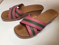 Coach Clogs Cognac Wood Platform Mules Slide Pink Stripe Tropical Sandals Sz 6