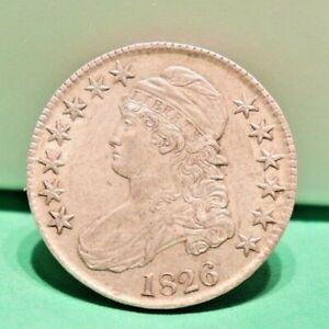 1826 US Bust Silver 50 Cent Original AU